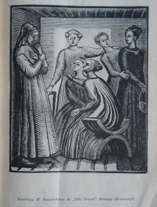 An illustration by Faworski (from a cycle on Dante's Vita Nuova) used to illustrate the excerpts of Zhivago in Opinie.
