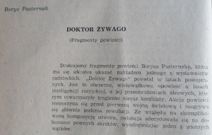 The editorial note accompanying the excerpts of Doctor Zhivago in Opinie